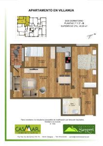 Inmobiliaria Casmar - Apartamentos Pirineo - Apartamentos Villanua - PLANTA 1º 2º - B1