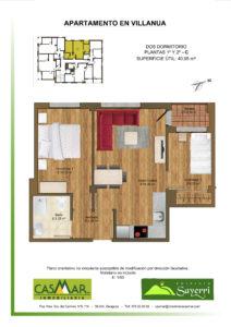 Inmobiliaria Casmar - Apartamentos Pirineo - Apartamentos Villanua - PLANTA 1º 2º - C1