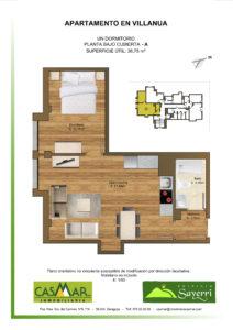 Inmobiliaria Casmar - Apartamentos Pirineo - Apartamentos Villanua - PLANTA BAJO CUBIERTA - A1