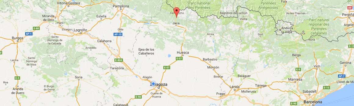 Inmobiliaria Casmar - Pisos, apartamentos en Pirineo - Localización y mapa en Villanúa