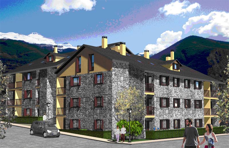Inmobiliaria Casmar - Apartamentos Pirineo Aragonés - Edificio Sayerri - Villanua Huesca - Infografía 1