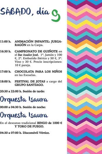 Inmobiliaria Casmar - Apartamentos Pirineo Aragonés - Fiestas patronales en Villanúa - Sabado - 2017